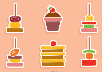 Nice Canapes And Cake Vectors - Free vector #429863
