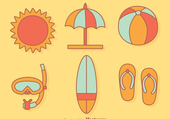 Beach Element Cartoon Vector - Free vector #429983