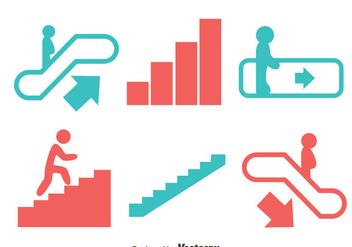 Escalator And Stair Icons Vector - бесплатный vector #430033