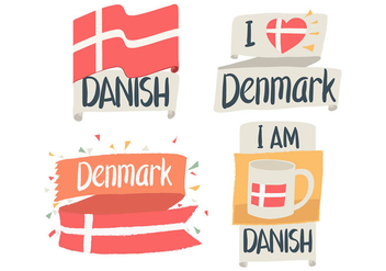 Hand Drawn Danish Flag - vector gratuit #430183