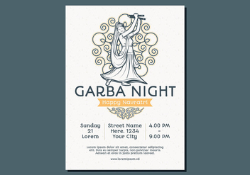 Dancing Woman Garba Poster Template - Free vector #430193