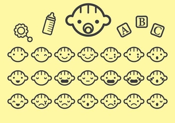 Various Baby Face Icon Vectors - vector gratuit #430323