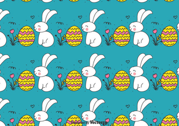 Doodle Easter Bunny And Egg Pattern - vector gratuit #430383