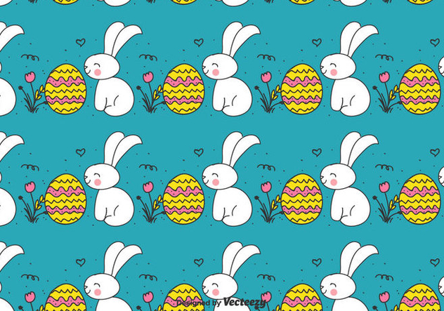 Doodle Easter Bunny And Egg Pattern - Free vector #430383