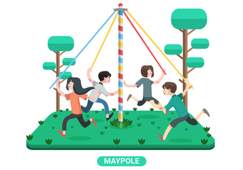 Kids Play Maypole Vector Illustration - Free vector #430413