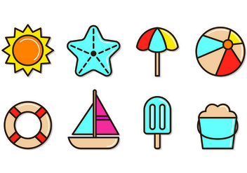 Set Of Playa Icons - Kostenloses vector #430453