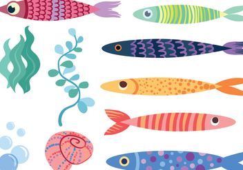Free Cute Fish Vectors - vector #430463 gratis