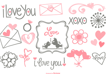 Cute Hand Drawn Love Doodles - vector gratuit #430563