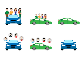Flat Carpool Sticker Design - vector gratuit #430583