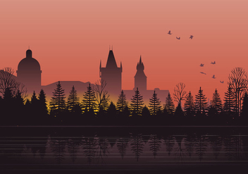 Silhouette Prague City - vector gratuit #430603