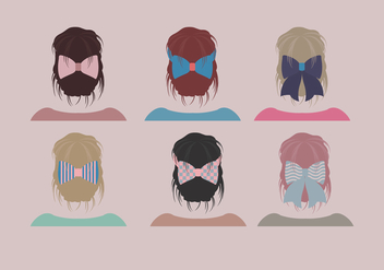 Hair Ribbon Simple Cute Vector - Free vector #430633