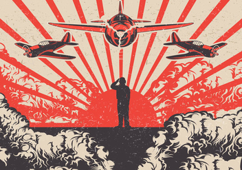 Kamikaze Planes and Soldier World War 2 Vector Background - Free vector #430643