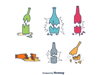 Broken Bottle Vector Set - бесплатный vector #430773