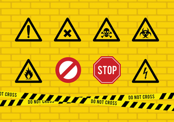 Danger Tape And Sign Free Vector - vector gratuit #430943