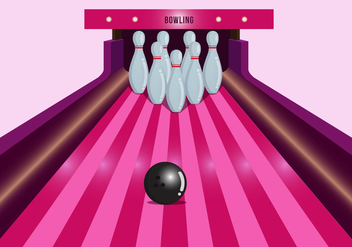 Bright Pink Bowling Lane Vector - бесплатный vector #431133
