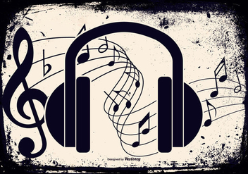 Grunge Music Headphone Illustration - vector gratuit #431223