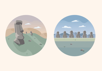 Easter Island Statue Lanscape Illustration Vector - Free vector #431253