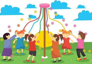 Maypole Children Illustration - Free vector #431263