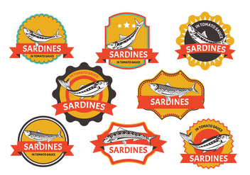 Set of Sardines label - vector gratuit #431293