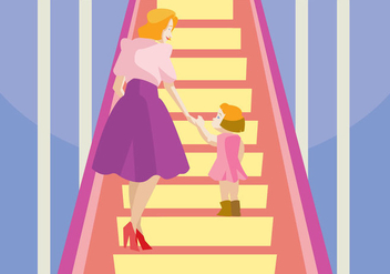 Mom And Her Daughter in The Escalator Vector - Free vector #431543