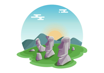 Statues Of Easter Island Vector - Free vector #431583