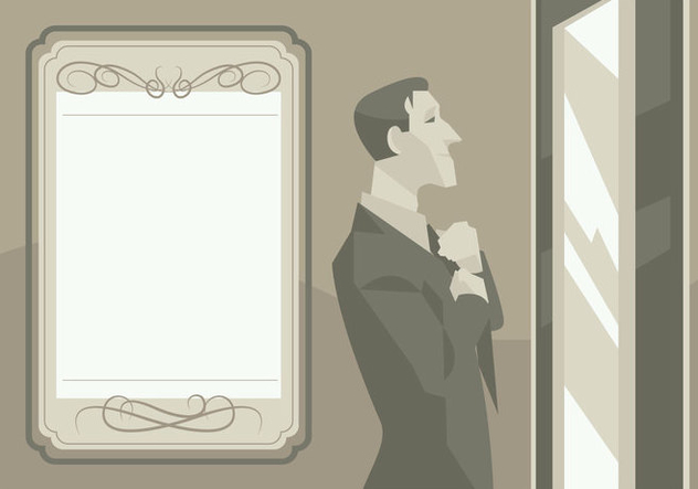 A Groom In Front of a Mirror Vector - vector gratuit #431643