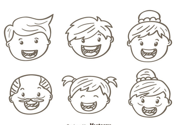 Sketch Happy Family Vectors - vector gratuit #431703