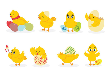 Easter Chick Vectors - Free vector #431823