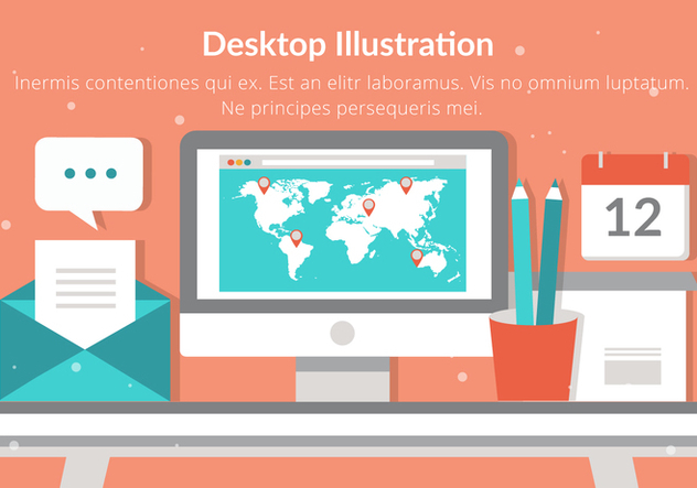 Free Desktop Vector Flat Design Illustration - vector gratuit #432003