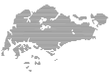 Horizontal Lines Singapore Map Vector - Free vector #432013