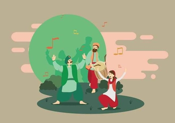 Free Male And Female Bhangra Dancers Illustration - Free vector #432033