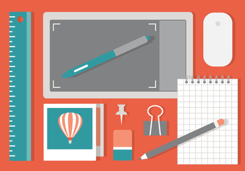 Free Flat Workspace Vector Background - Free vector #432053