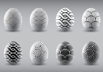 Trendy Black and White Easter Eggs Vectors - vector gratuit #432173