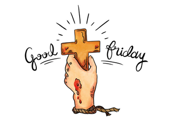 Holy Cross Of Jesus Passion With Lettering To Good Friday Holiday. - vector #432213 gratis