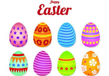Icons Of Easter Eggs - Free vector #432293