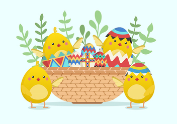 Cute Easter Chick Vector Illustration - vector gratuit #432303