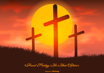 Beautiful Good Friday Illustration - vector gratuit #432383