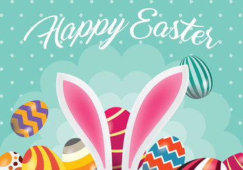 Easter Egg and Bunny Ear Vector Background - Free vector #432413