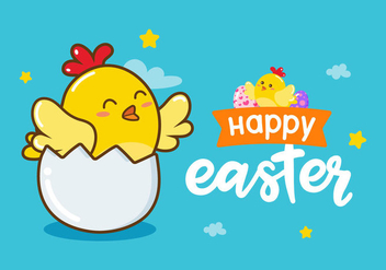 Happy Easter Chick Vector Background - vector gratuit #432433