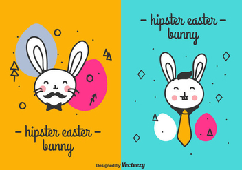 Hipster Easter Bunny Vector - vector gratuit #432443
