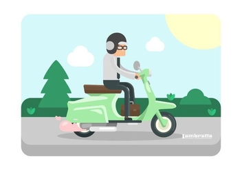 Mint Green Lambretta with Rider Illustration - vector #432473 gratis