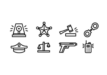 Simple Police Vector Icons - vector #432503 gratis