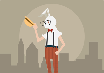 Hipster Man With Rabbit Costume Vector - Free vector #432543