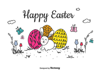 Happy Easter Vector Background - Kostenloses vector #432553