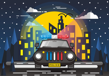 Bright Police Lights in the City Vector Design - vector gratuit #432603