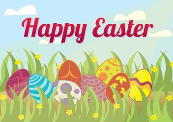 Easter Egg Hunt in the Grass Background Vector - Free vector #432643