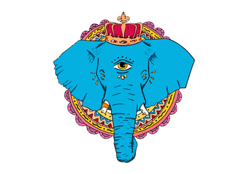 Hand Drawn Blue Elephant With Crown Vector - Free vector #432663