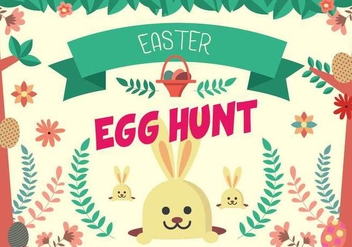 Cute Easter Egg Hunt Poster Vector - Kostenloses vector #432703