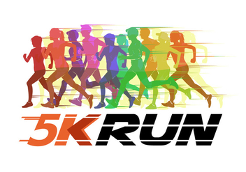 5K Running Silhouette Vector Illustration - Free vector #432753