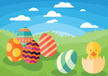 Easter Chick Vector Background - Kostenloses vector #432863